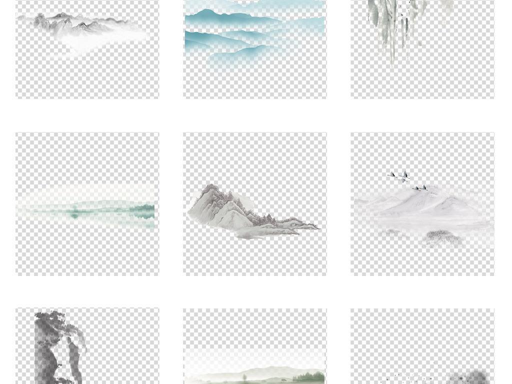 创意古风手绘简笔画水墨山水画免扣背景图片素材 模板下载 93.30MB 其他大全 花纹边框
