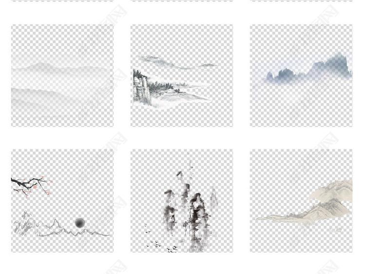 创意古风手绘简笔画水墨山水画免扣背景图片素材 模板下载 93.30MB
