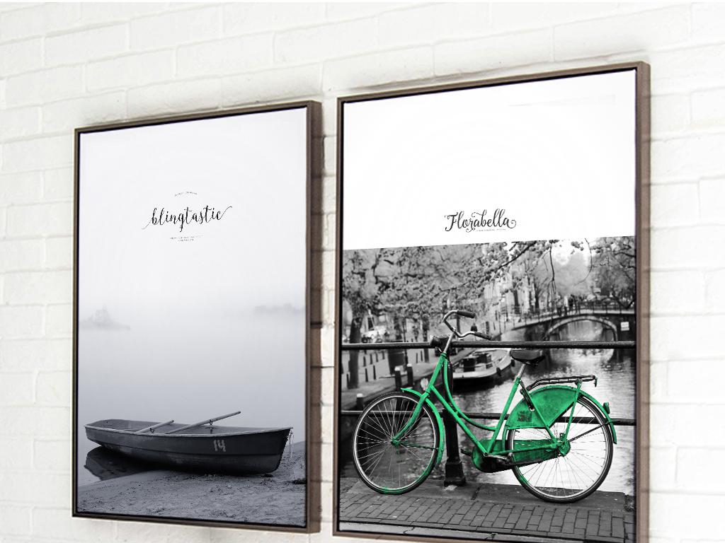 灯塔自行车小船三联装饰画简约北欧风景