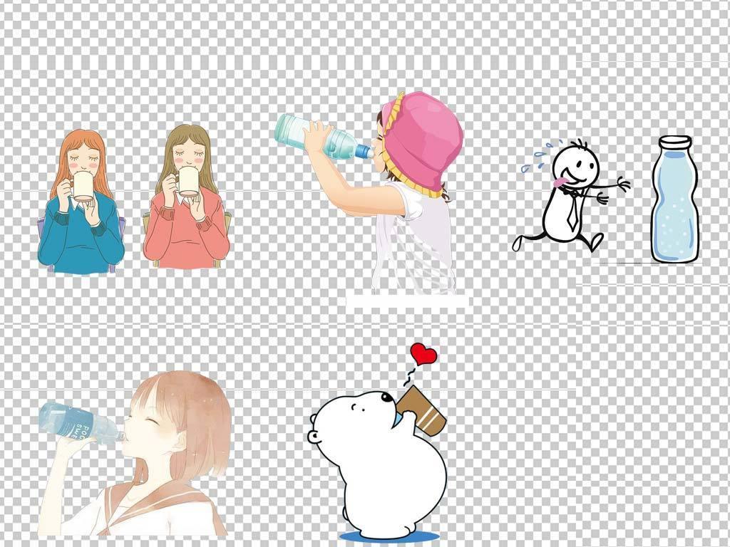 卡通人物男孩女孩男人女人喝水动作PNG免扣素材图片 模板下载 13.04