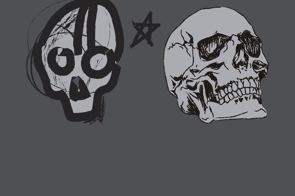 手绘艺术骷髅头3d骷髅头印花图案矢量素材设计图片_(1