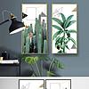 现代简约手绘绿色植物仙人掌芭蕉树小清新装饰画