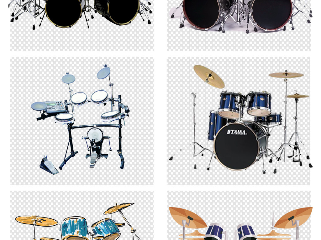 爵士鼓摇滚架子鼓西洋乐器培训png素材图片