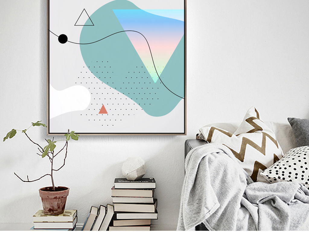 几何抽象图形装饰画北欧线条