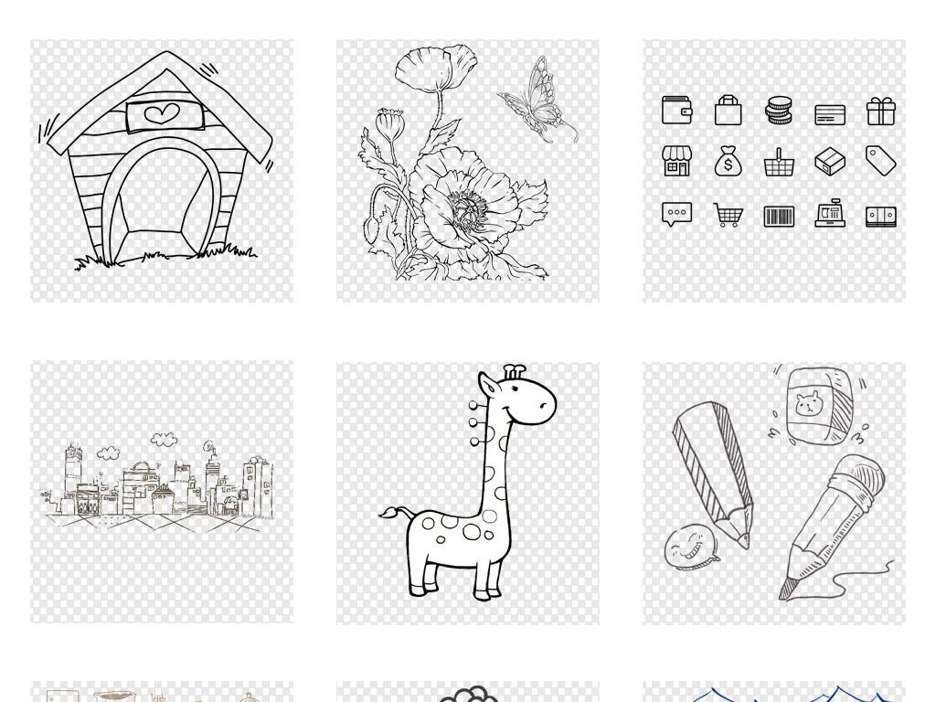 卡通手绘涂鸦线条纸飞机简笔画png素材图片 模板下载 50.70MB 其他大全 花纹边框