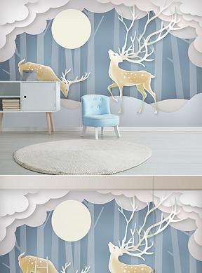 3D北欧立体手绘麋鹿森林现代简约背景墙-3D树林电视背景墙图片设计