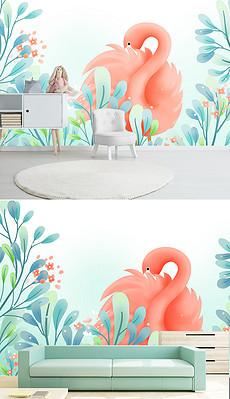 INS现代手绘水彩小清新治愈系可爱卡通树叶火烈鸟儿童房背景墙-儿童