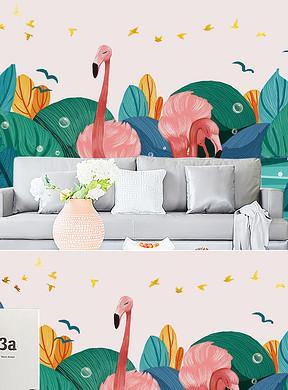 cmINS现代手绘水彩小清新治愈系可爱卡通火烈鸟动物背景墙-怪物史