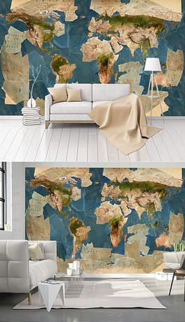 现代手绘方块地图图片背景墙壁纸壁画-TIF不分层纸图片 TIF不分层格