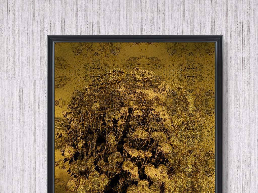 新中式a现代美女发财树金色笑死图片动态美女北欧装饰画图片