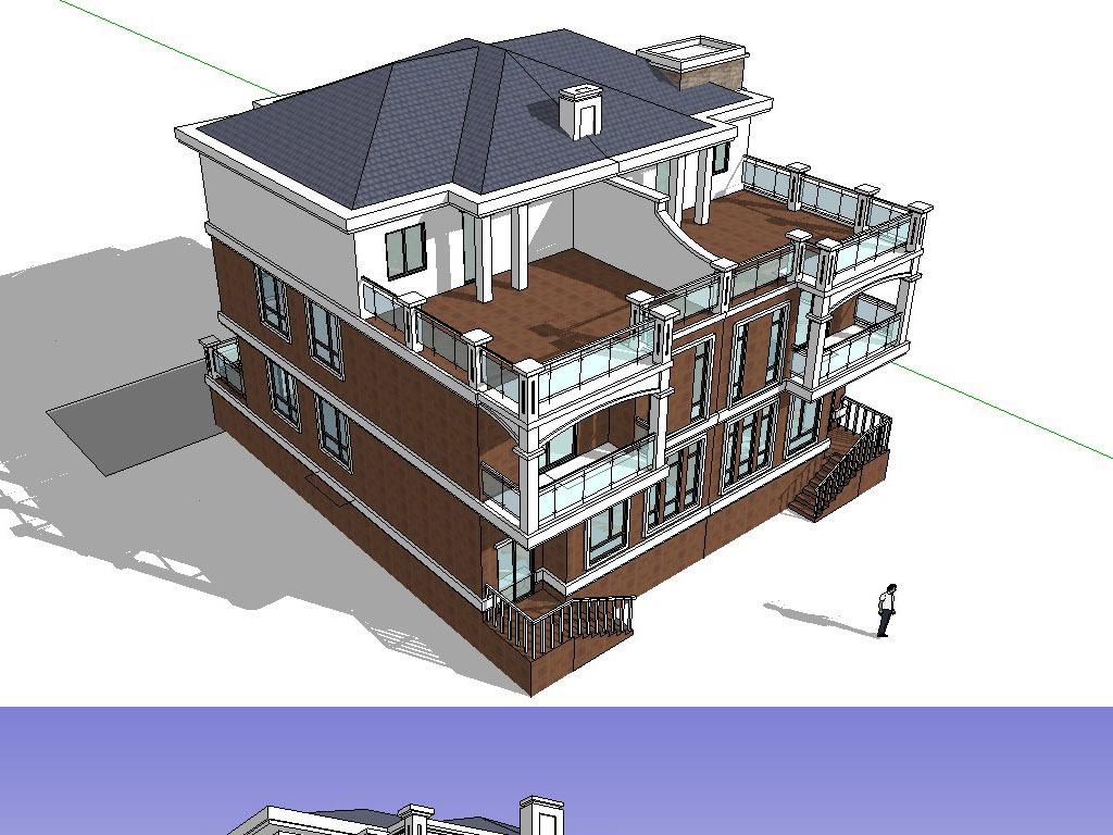 欧式别墅别墅模型SU草图含CAD图大师南方韵湖中冶首府图片