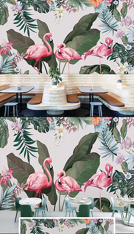 手绘热带雨林火烈鸟背景墙-TIF不分层竹树背景