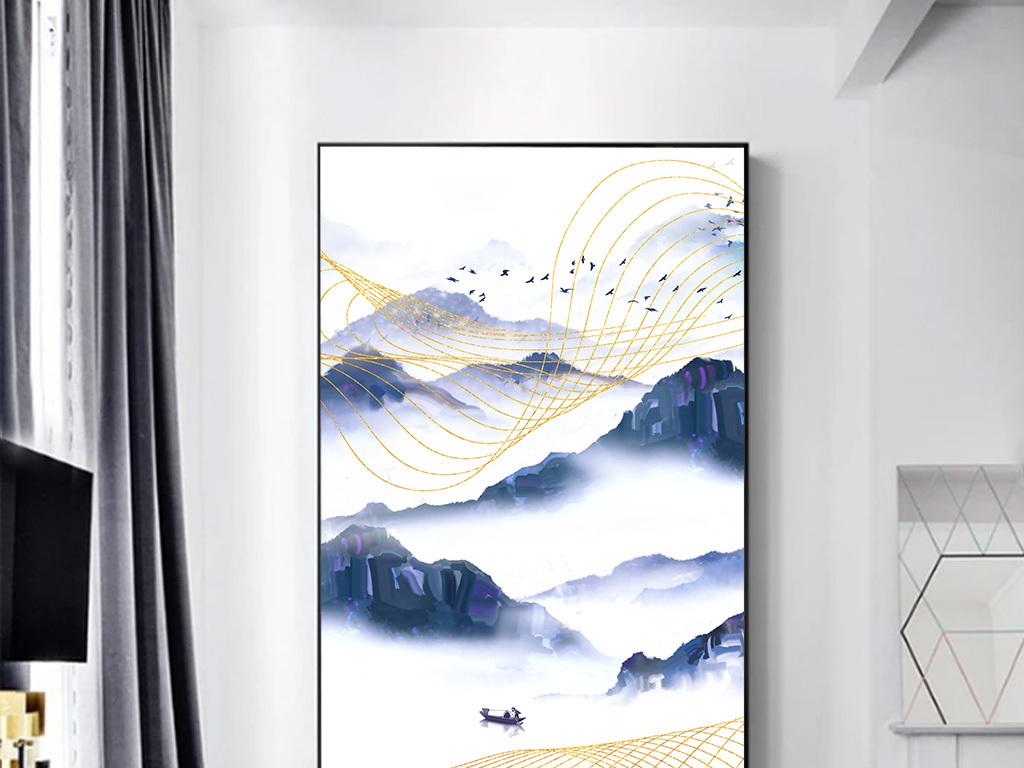 新中式金色线条飞鸟抽象水墨山水玄关装饰画图片