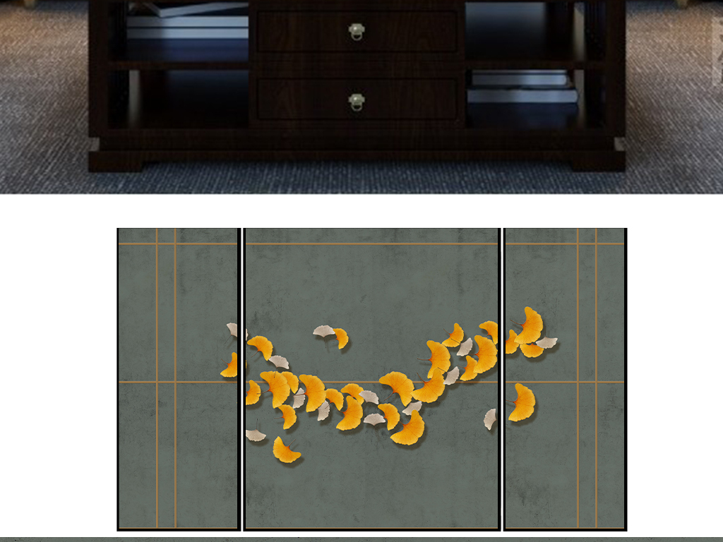 新中式写意银杏3d立体造型做旧效果背景墙图片设计素材 高清模板下载 50.09MB 中式电视背景墙大全