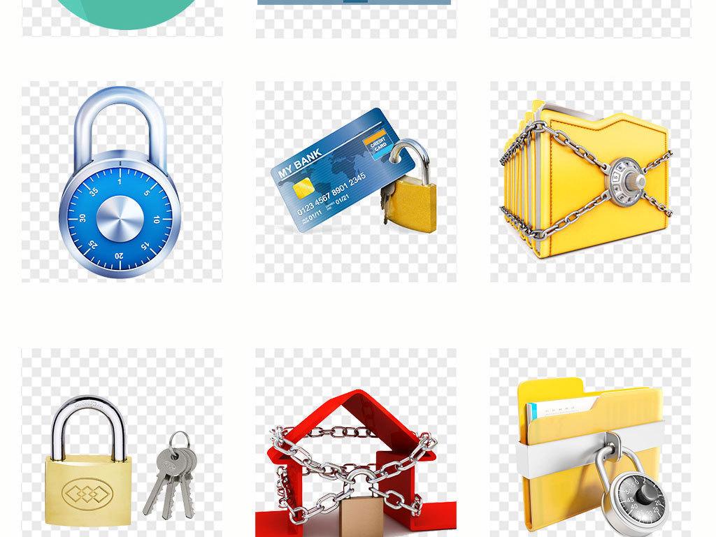 网络安全防护手绘金锁海报png海报素材