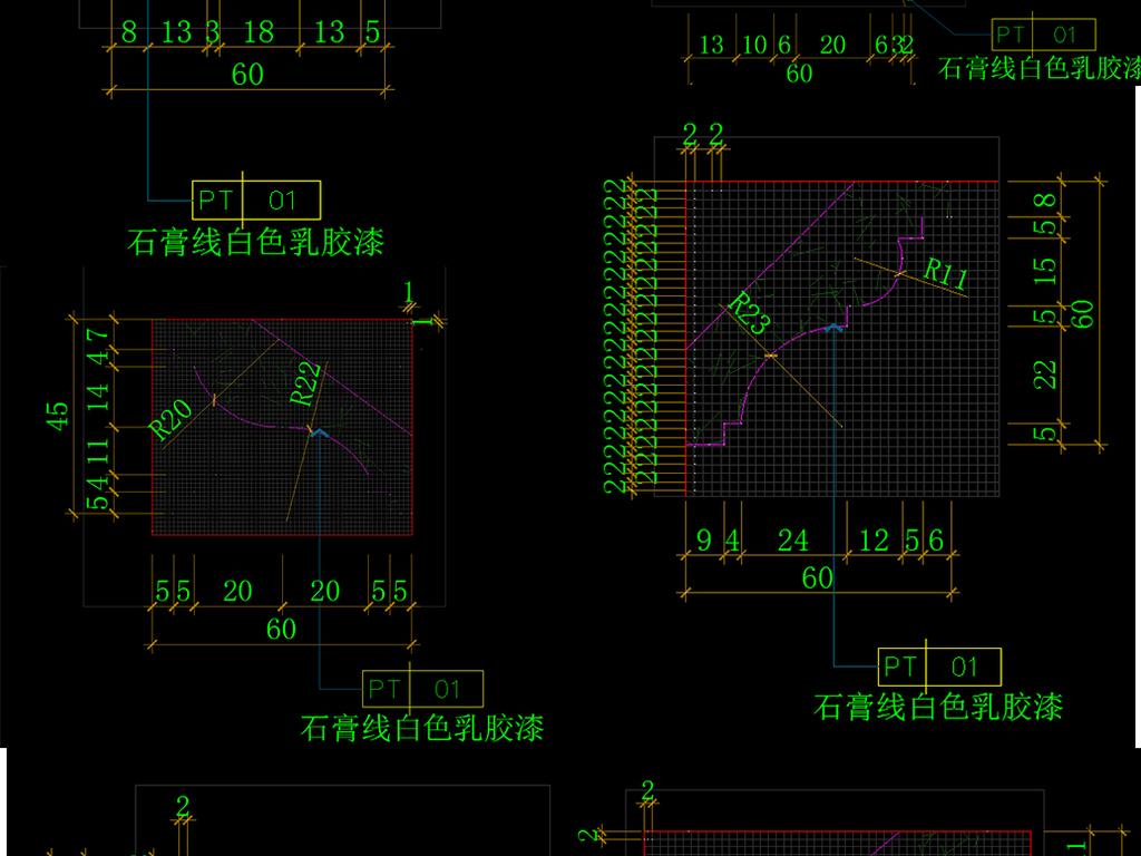 cad吊顶石膏线条大样节点详图平面设计图下载 图片0.77MB 节点剖面图CAD大全 建筑CAD图纸