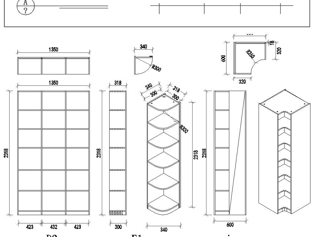图纸图纸打印标注图纸比例cad图纸中书柜4-c2的意思图片