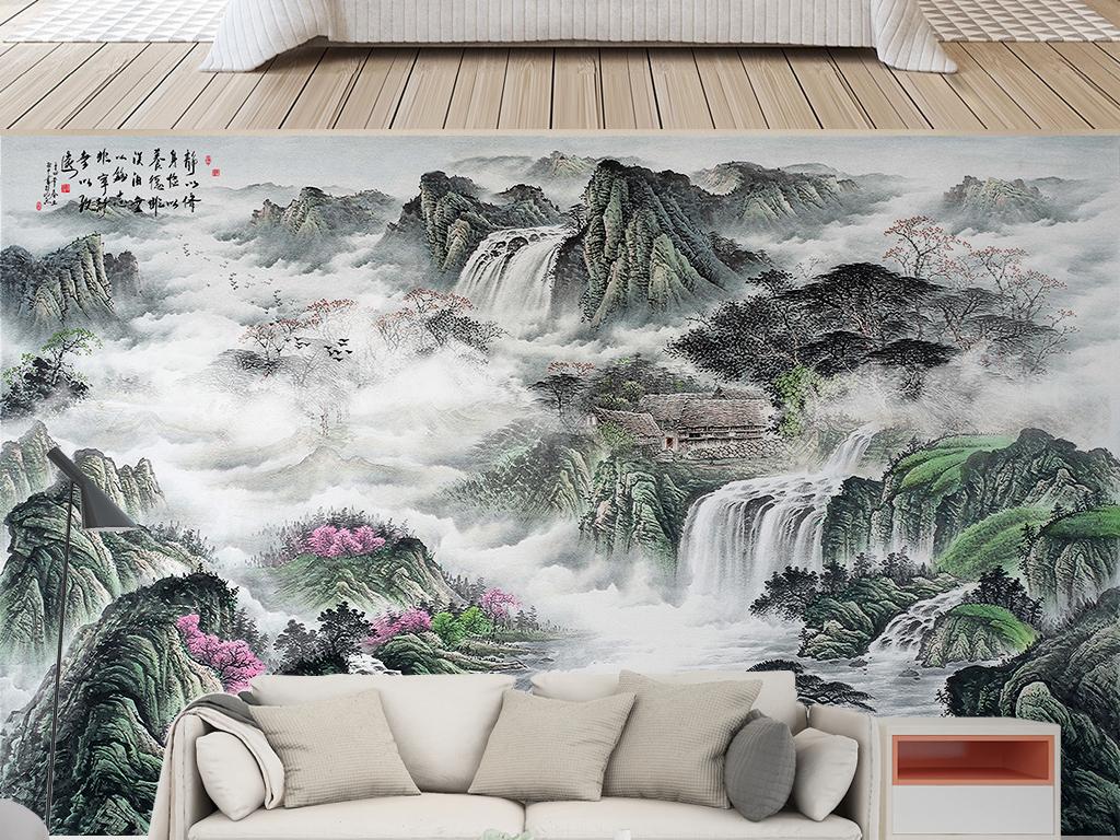中国国画新中式山水风景水墨意境电视背景墙