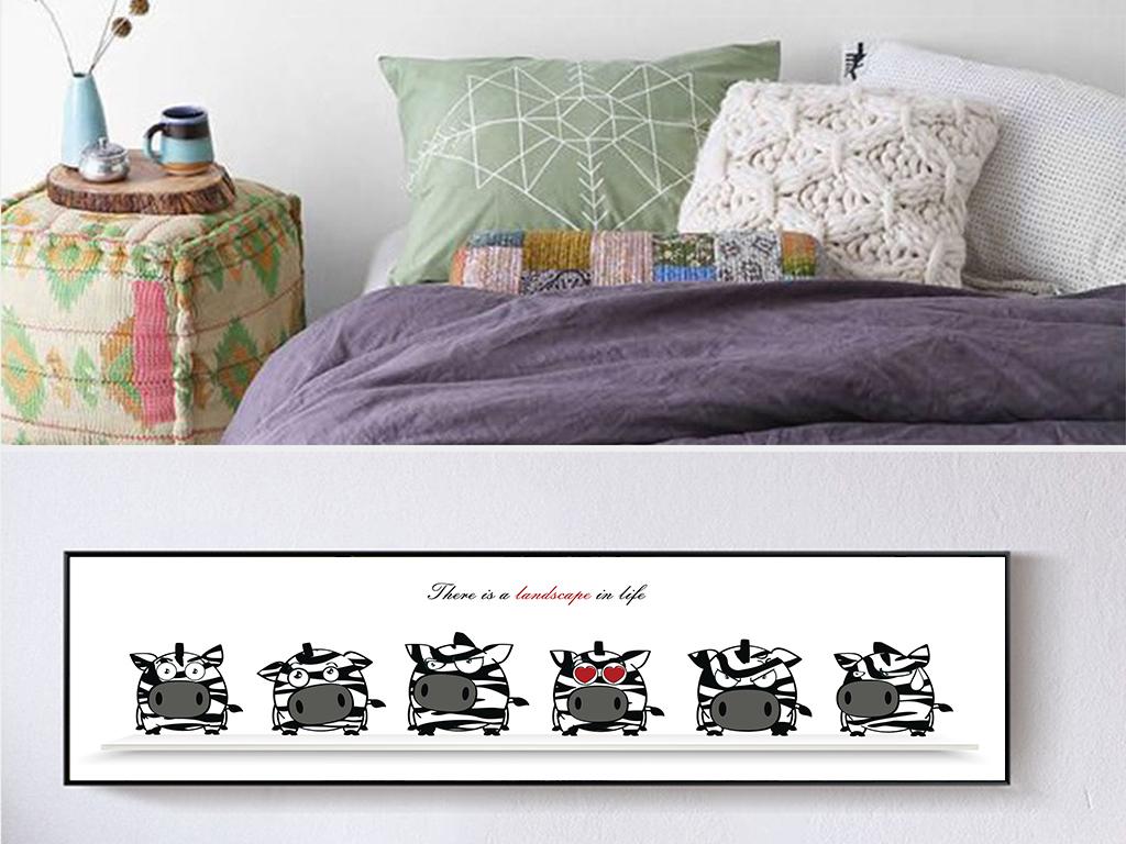 ins清新黑白野猪宝宝横版装饰画无框挂画图片设计素材 高清模板下载 1.08MB 动物装饰画大全