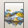 新中式现代艺术立体金色抽象水墨山水玄关装饰画