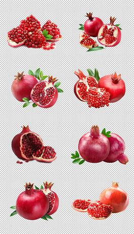 高清实拍大图片红色新鲜水果石榴png透明素材