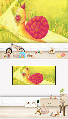 北欧童话童趣儿童房间背景墙装饰画高清图片