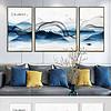 蓝色水墨山水抽象线条新中式客厅三联装饰画