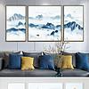 蓝色云雾山水意境群山新中式客厅装饰画三联