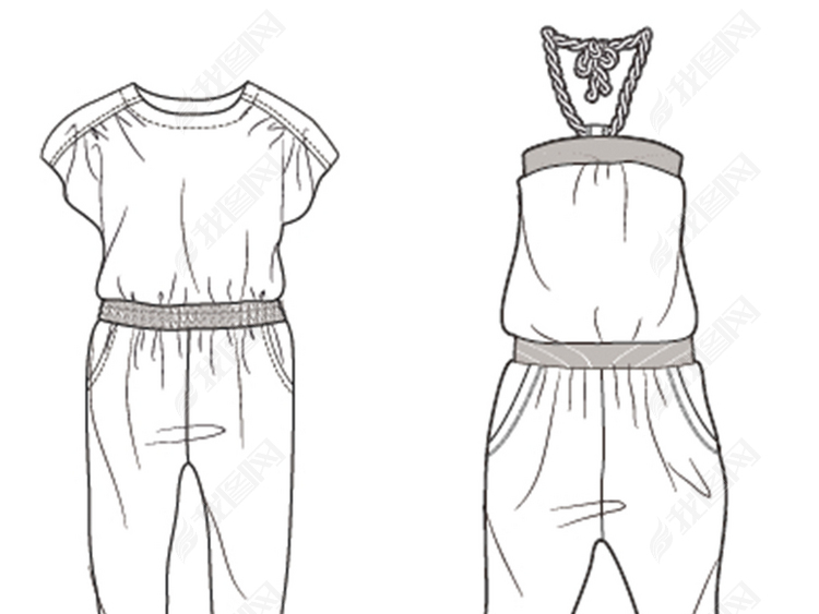 儿童连身裤背带裤款式图矢量图图片设计素材 高清ai模板下载 6.60MB 裤装大全