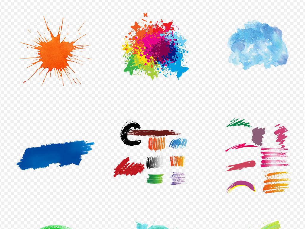 喷墨手绘水彩背景彩色泼墨效果促销背景京东雾气元素png涂鸦烟雾素材