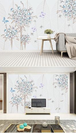 手绘满天星花卉背景墙装饰画-PSD植物和蝴蝶 PSD格式植物和蝴蝶素
