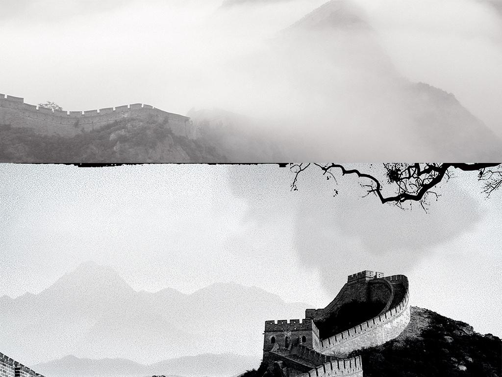 手绘北京万里长城剪影banner海报背景