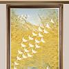 新中式水墨山水油画金色线条飞鸟装饰画玄关