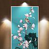 新中式手绘玉兰工笔花鸟玄关装饰画