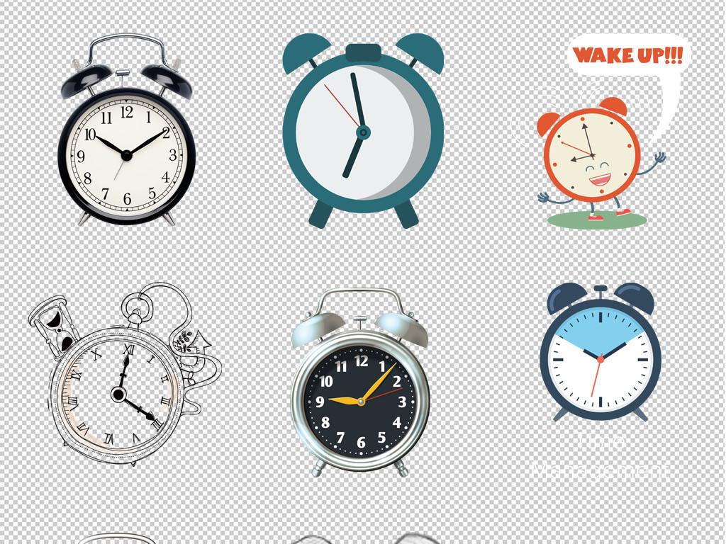 时钟高清手绘闹钟钟表海报背景png素材