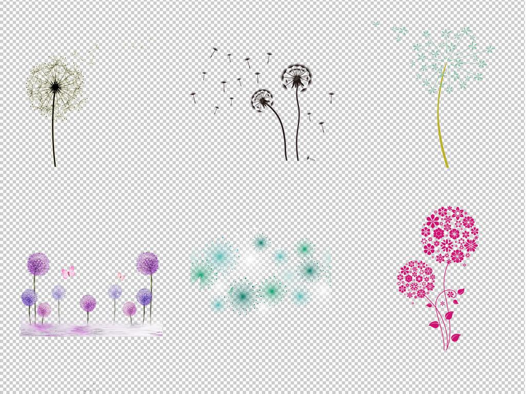 唯美紫色白色蒲公英背景图片png元素素材_模板下载(95