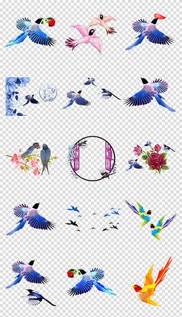 PNG小鸟喜鹊 PNG格式小鸟喜鹊素材图片 PNG小鸟喜鹊设计模板 我图网图片