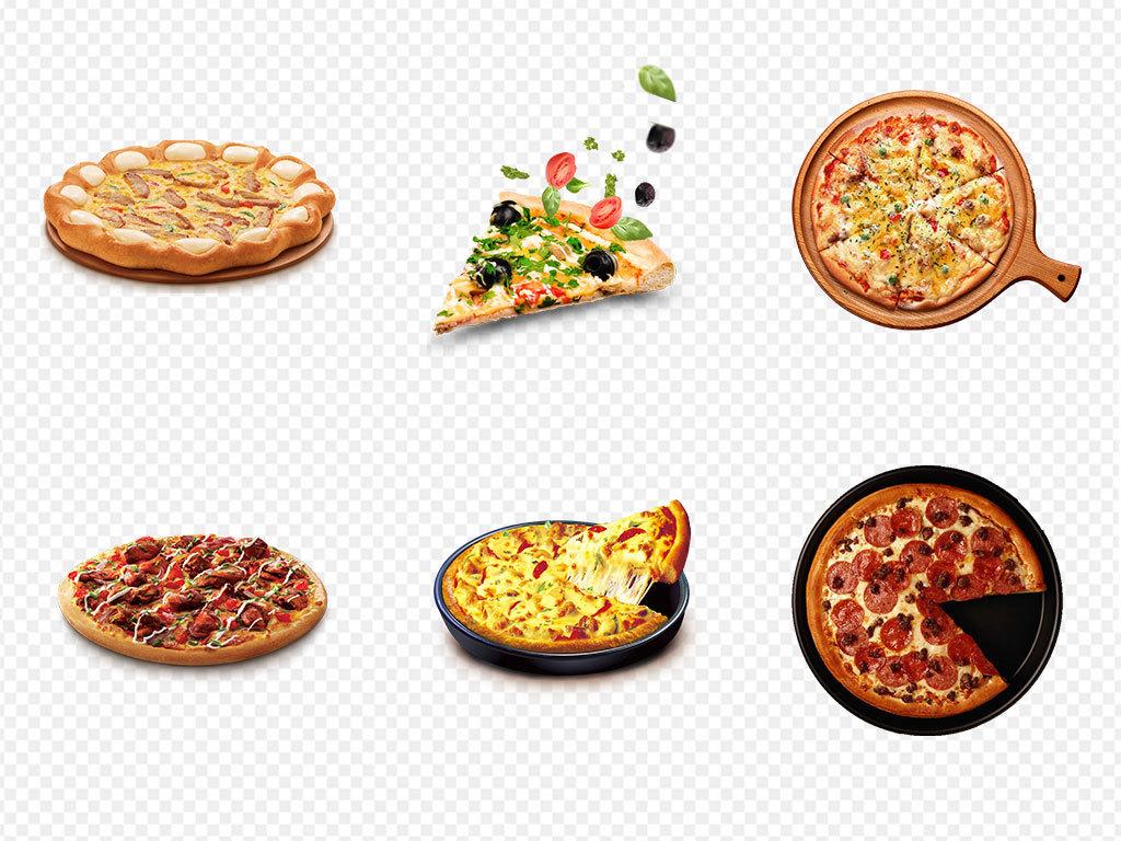 手绘美食美味披萨海报png素材背景