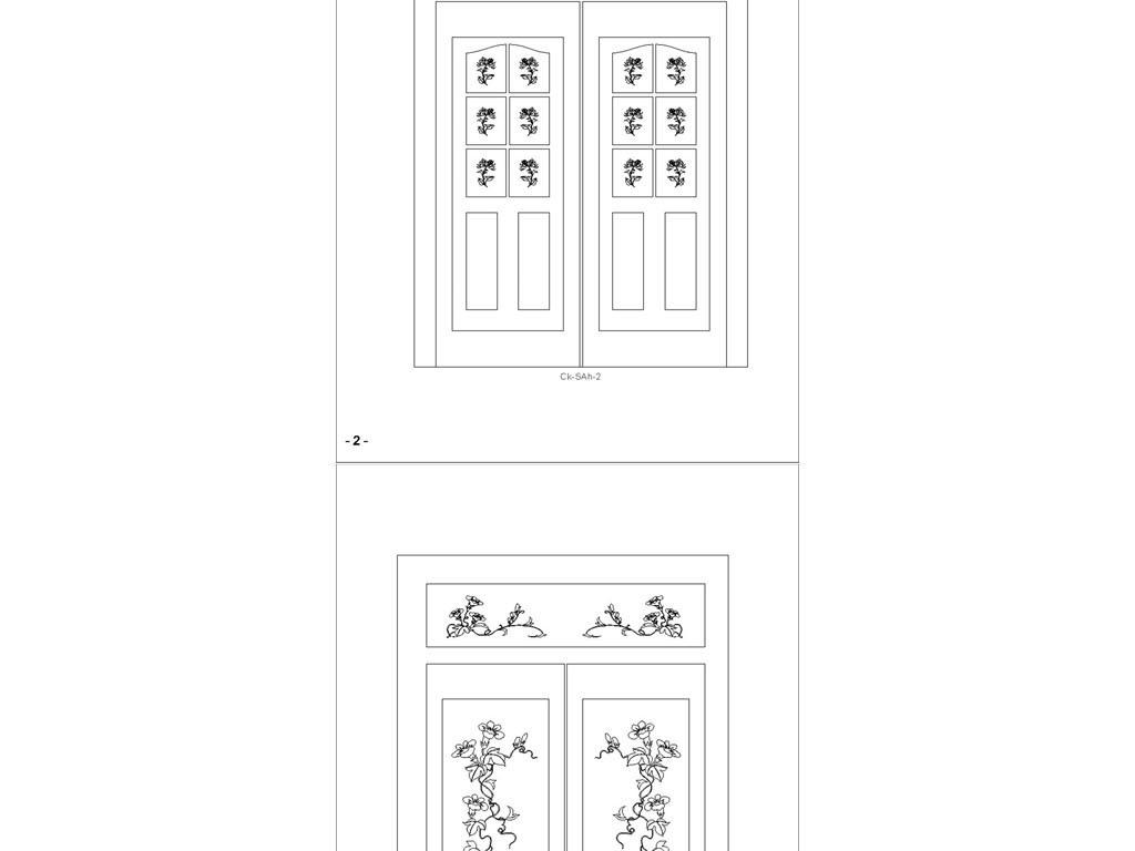 背景柜门图案套图CAD格式图dxf花草大门雕刻cad图片