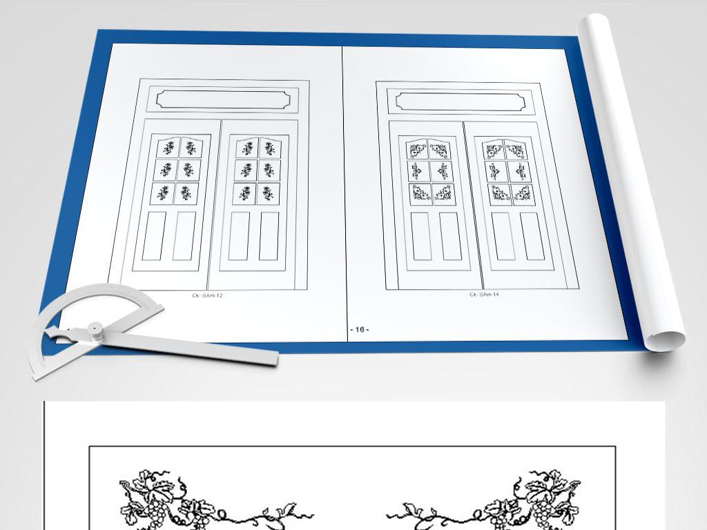 格式柜门背景套图CAD大门图dxf花草cad宽显示没编辑线图片