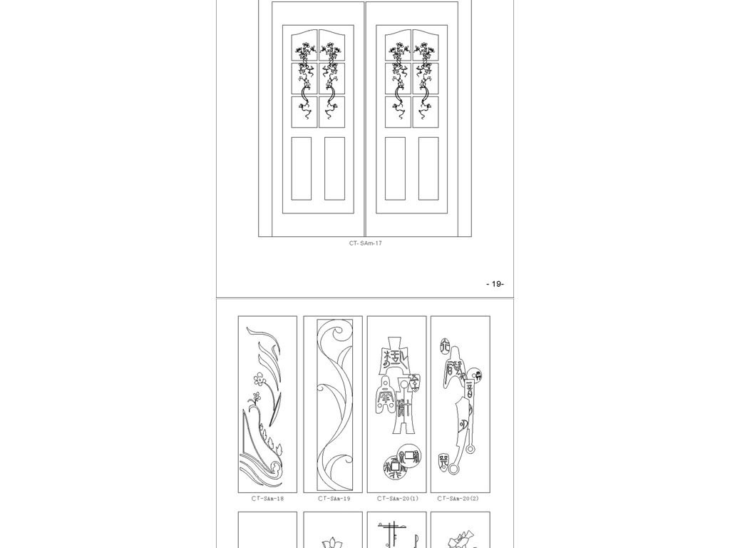 格式钢筋柜门套图CAD大门图dxf花草cad2012符号背景图片