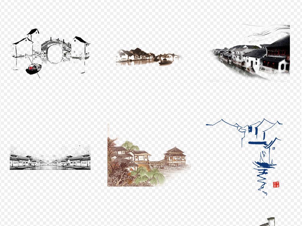 中国风手绘水墨江南水乡古建筑png免扣素材