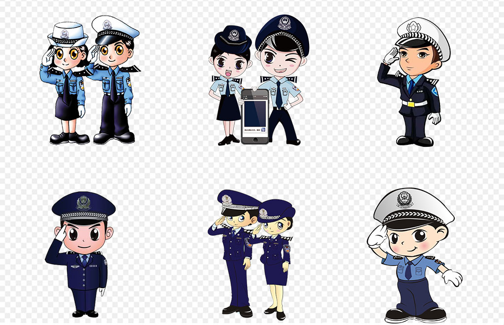 警察交通警察标志可爱警徽矢量图警卫叔叔免抠设计卡通背景卡通人物