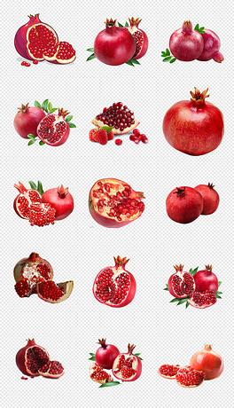 高清红色新鲜水果石榴png透明素材