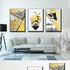 北欧创意金色麋鹿几何线条图案抽象装饰画
