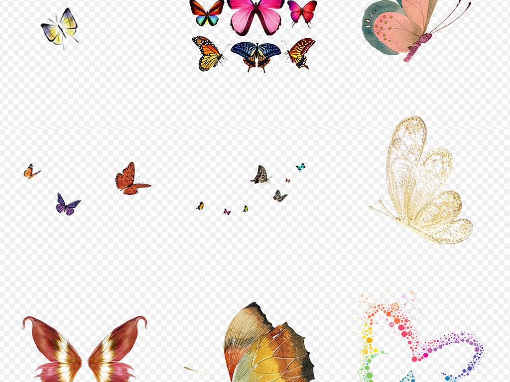 水墨蝴蝶彩色手绘蝴蝶海报素材背景图片png