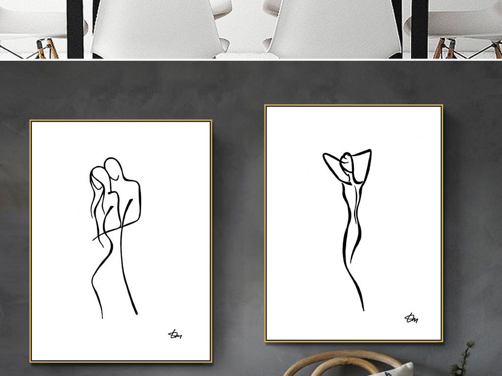 极简创意人物手绘抽象装饰画