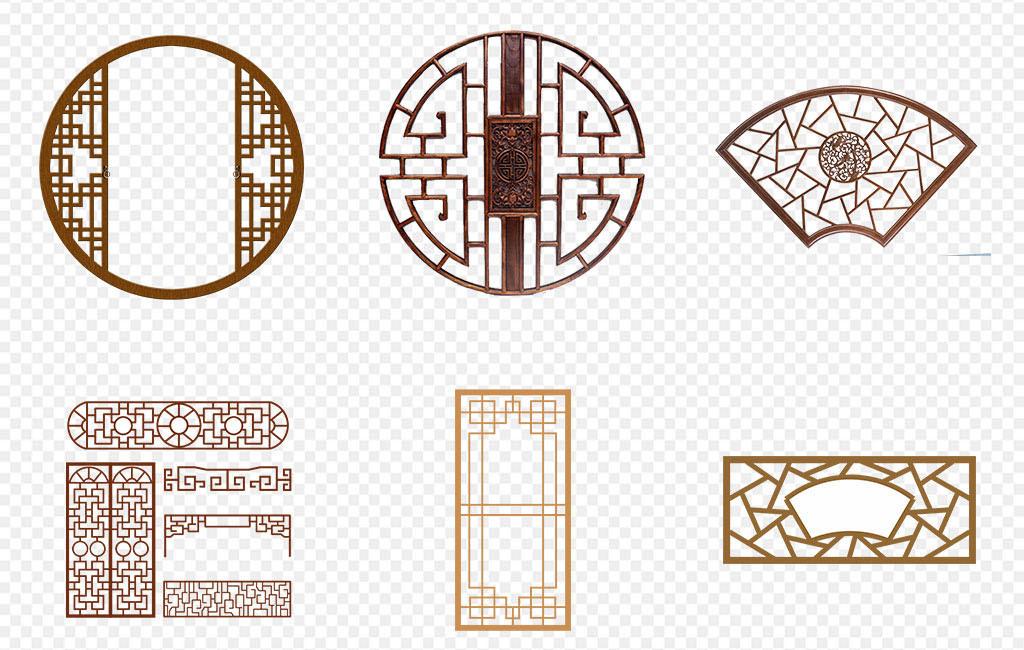 圆形花边新中式风格背景新中式模版中式窗花元素图案