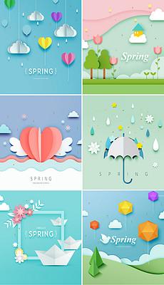 卡通可爱春天立体剪纸创意儿童装饰画幼儿园学校展板海报背景