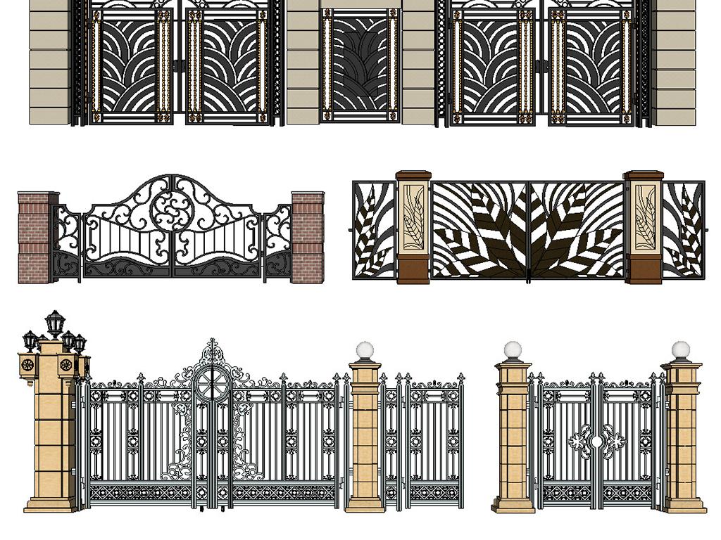 室内建筑景观园林庭院城市公园别墅住宅铁艺铁艺大门铁艺围墙围墙大门